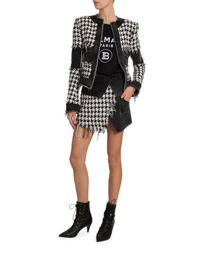 Houndstooth Denim Tweed Jacket and Matching Items