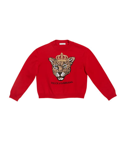 Girl's Leopard Queen Intarsia Sweater  Size 4-6 and Matching Items