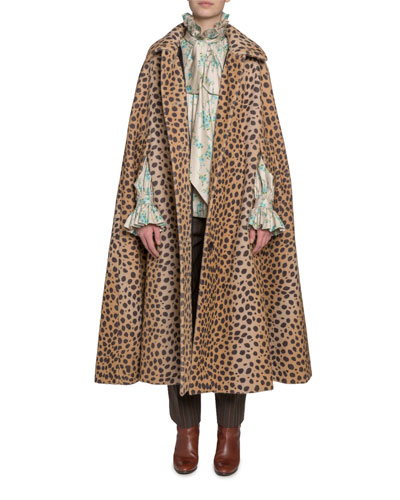 Animal-Print Cape Coat and Matching Items
