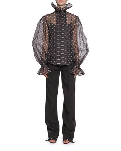 Polka-Dot Print Chiffon Full-Sleeve Button-Front Shirt and Matching Items
