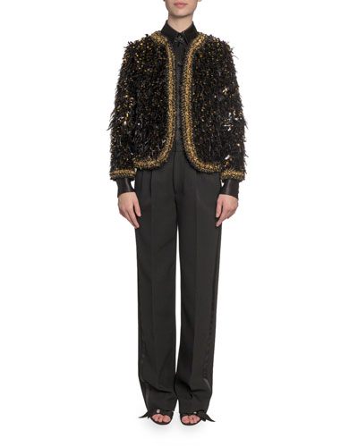 Embroidered Feather Open Blazer and Matching Items