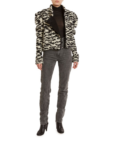 Boucle High-Neck Moto Jacket and Matching Items