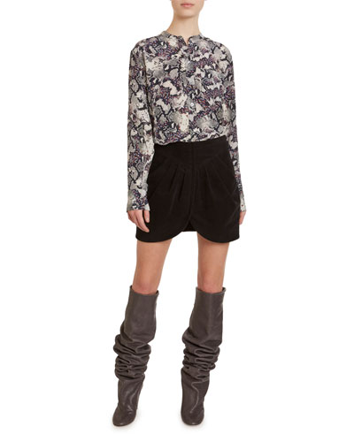 Checkered Snake Print Silk Mock Neck Top and Matching Items