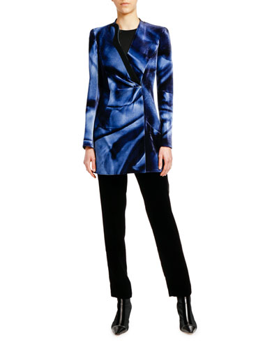 Printed Velvet Ruched-Front Long Jacket and Matching Items