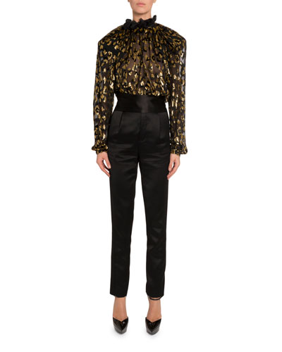 Golden Leopard Burnout Velvet Blouse and Matching Items