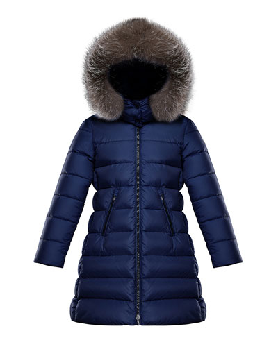 Abelle Long Quilted Puffer Coat w/ Fur Trim, Size 4-6 and Matching Items