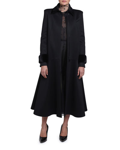 Mink-Cuff Compact Jersey Coat and Matching Items