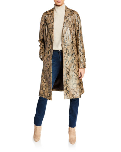 Embossed Leather Belted Python Trench Coat and Matching Items
