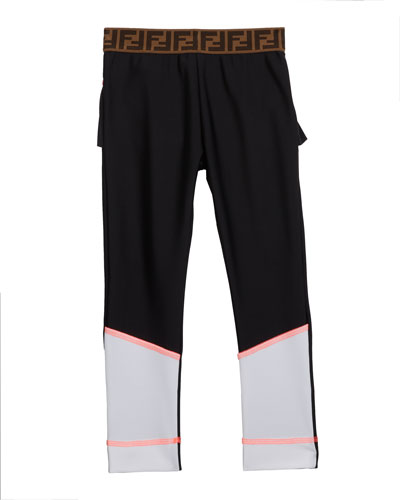 Girl's Two-Tone Leggings w/ Logo Waistband  Size 4-8  and Matching Items