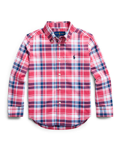 Boy's Plaid Button-Down Collar Shirt  Size 2-4  and Matching Items