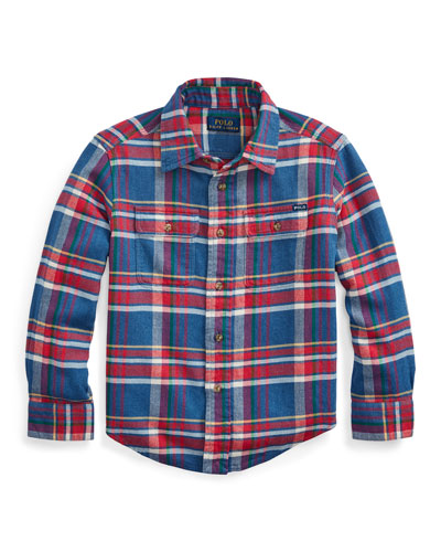 Boy's Plaid Button-Down Shirt  Size 2-4  and Matching Items