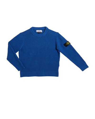 Boy's Boucle Crewneck Sweater with Logo Arm Tab, Size 2-4  and Matching Items