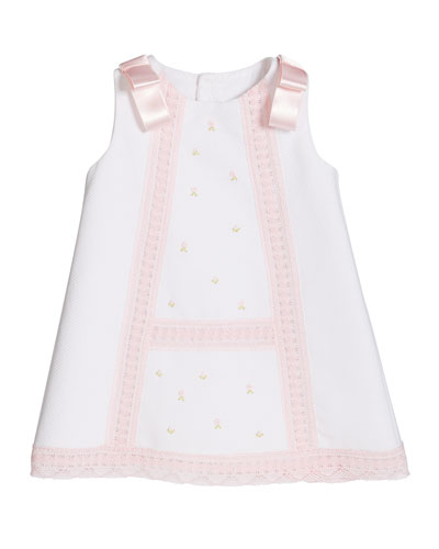 Girl's Pique Lace-Trim Dress  Size 3-18 Months  and Matching Items