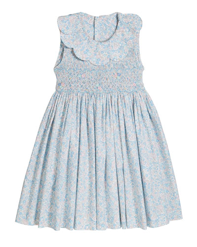 Girl's Floral Print Petal Collar Smocked Dress  Size 4-6X  and Matching Items