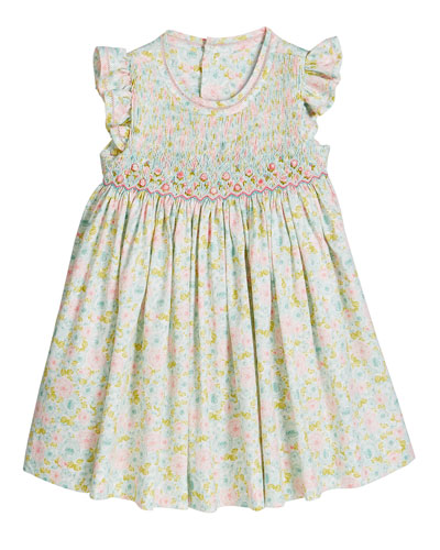 Girl's Aqua Floral Smocked Dress  Size 12-24 Months and Matching Items