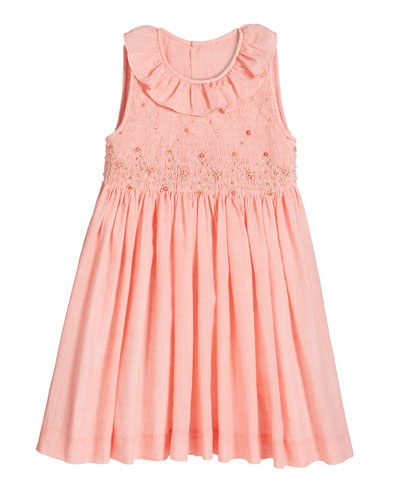 Girl's Coral Smocked Dress  Size 4-6X and Matching Items