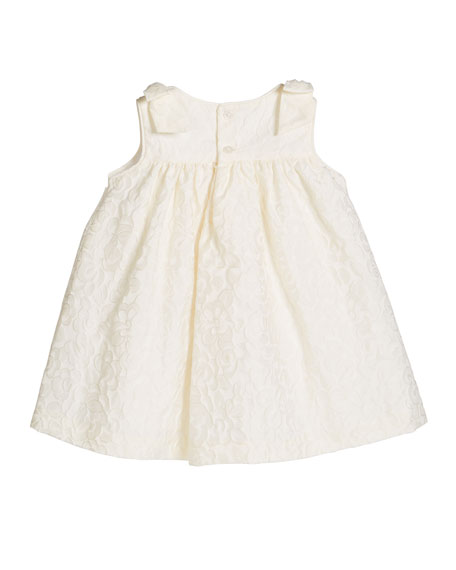 Girl's Ivory Dress with Bow Shoulders, Size 3-18 Months