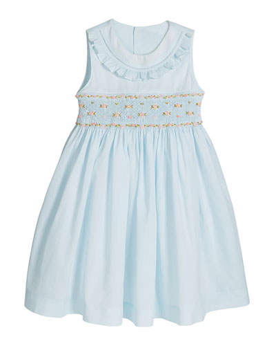 Girl's Blue Smocked Dress  Size 2-4T and Matching Items