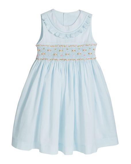 Girl's Blue Smocked Dress, Size 2-4T