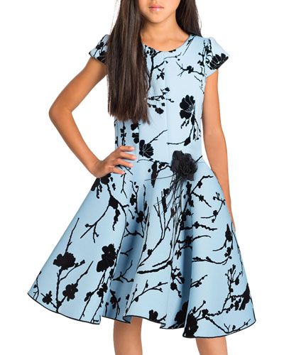 Girl's Skylar Flocked Cap-Sleeve Neoprene Dress  Size 4-6X and Matching Items