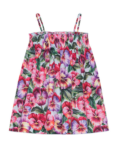 Girl's Blooming Floral Shirred Dress, Size 9M-6  and Matching Items