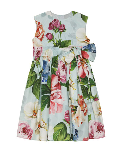 Girl's Floral Print Shirred Waist Dress  Size 8-12  and Matching Items