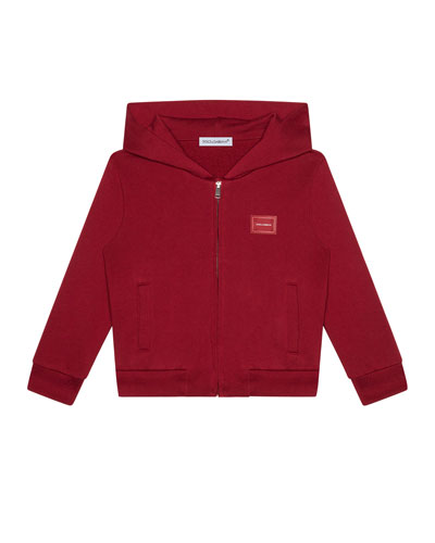Boy's Logo Patch Zip-Up Hooded Jacket  Size 4-6  and Matching Items