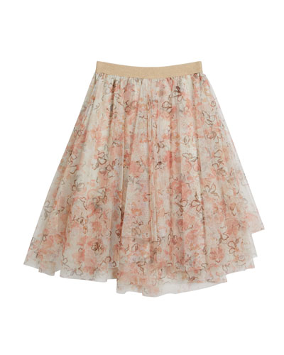 Girl's Floral Printed Tulle Skirt  Size 8-10 and Matching Items