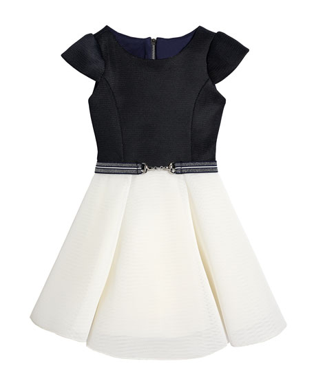 Girl's Emersyn Two-Tone Knit Swing Dress, Size 7-16