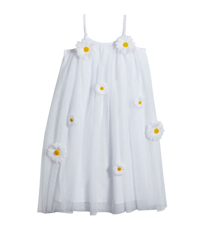 Girl's 3D Daisy Sleeveless Shift Dress  Size 4-5