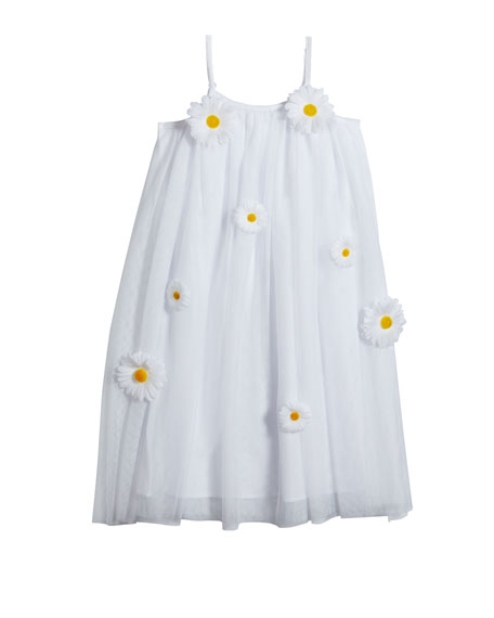 Girl's 3D Daisy Sleeveless Shift Dress, Size 4-5