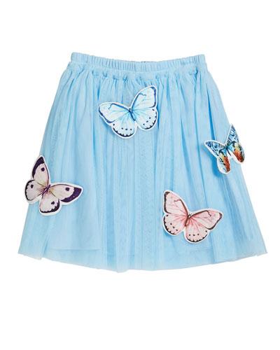 Girl's Tulle Scattered Butterflies Skirt  Size 4-5