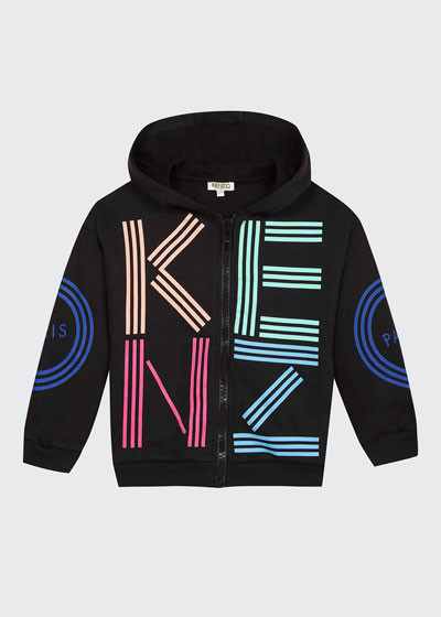 Girl's Multicolored Logo Print Hooded Fleece Jacket  Size 2-6  and Matching Items