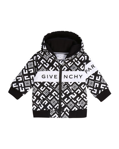 Boy's 4G Zip-Front Hooded Logo Cardigan  Size 12-18 Months and Matching Items