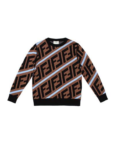 Boy's Diagonal-Logo Wool Pullover