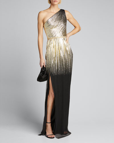 One-Shoulder Pleated Foil Degrade Gown w/ High Slit