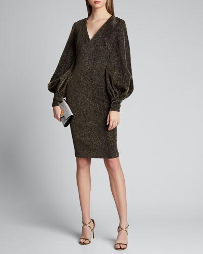 Metallic Shimmer Knit V-Neck Poet-Sleeve Dress
