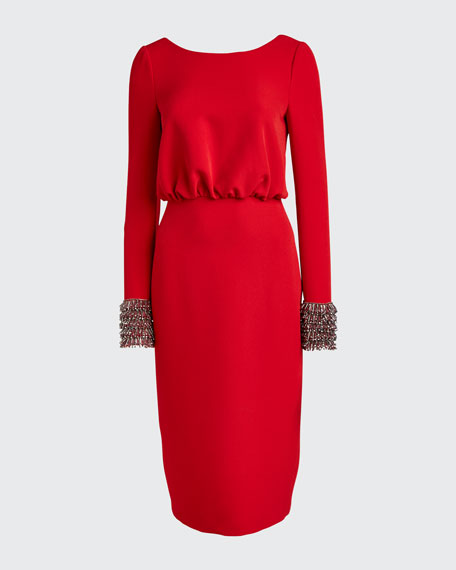 V-Back Long-Sleeve Dress with Beaded Cuffs