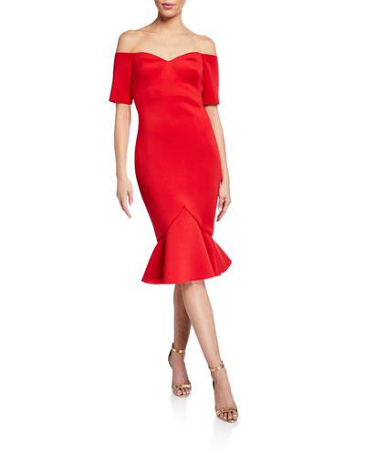 Off-The-Shoulder Flounce-Hem Dress