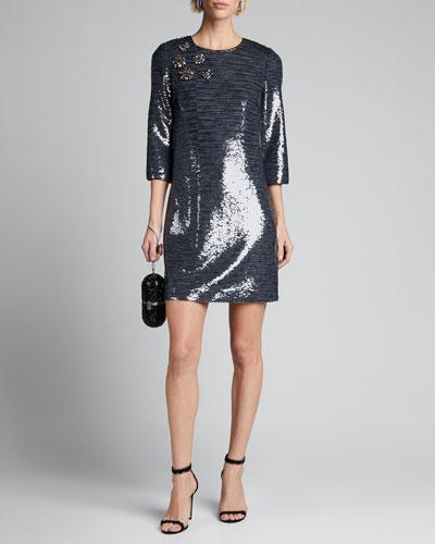 Sequin Sack Elbow-Sleeve Mini Dress w/ Broaches