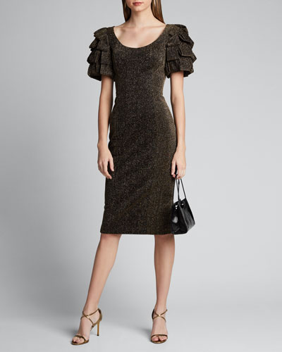 Metallic Loop-Sleeve Sheath Dress