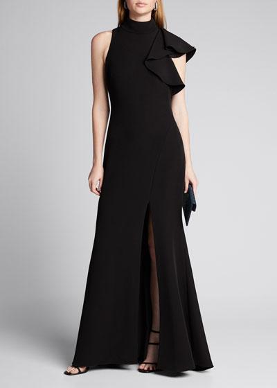 Mock-Neck Sleeveless Asymmetric Ruffle Crepe Gown