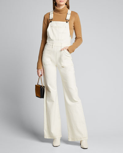 Wide-leg Denim Carpenter Jumpsuit