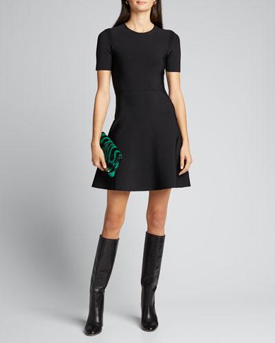 Short-Sleeve Crewneck Flare Dress