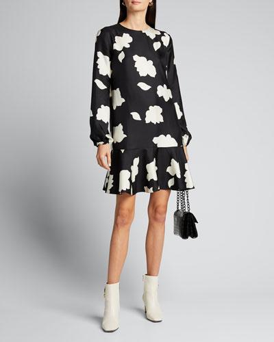 Flared Drop-Waist Silk Dress