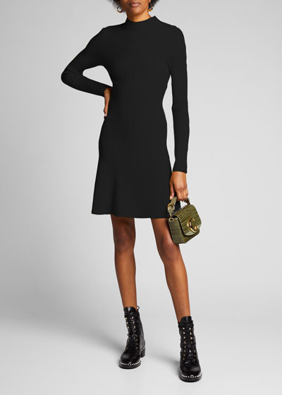 Ribbed Long-Sleeve Wool Dress