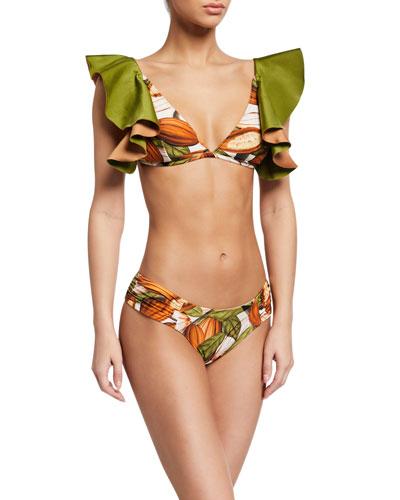 Cacao-Print Ruffle Triangle Bikini Top