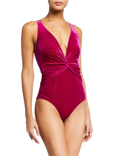 Plunging Velvet Twist One-Piece Swimsuit
