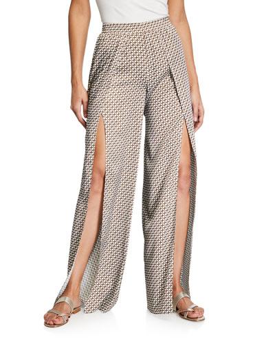 Chain-Print Split Wide-Leg Pants