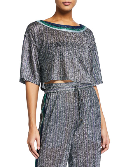 Image 1 of 1: Cropped Metallic Round-Neck Coverup Tee